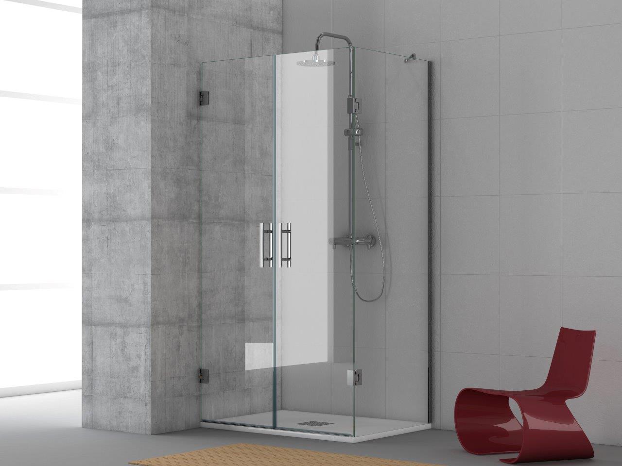 Mamparas de ducha en esquina detalle esquina superior del for Mampara ducha esquina