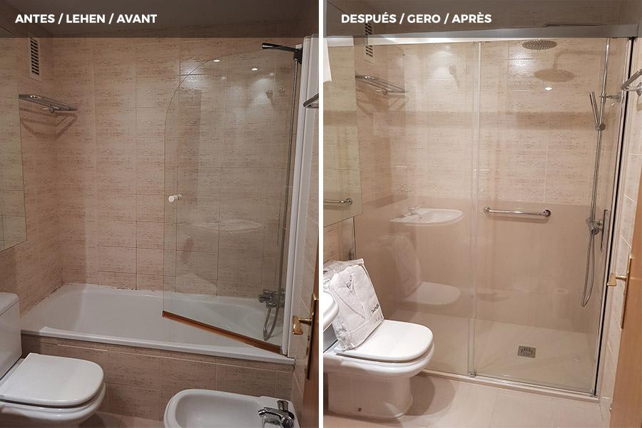Cambio de bañera por Plato de Ducha entre tres paredes